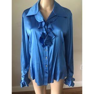 St. John Blue Long Sleeve Blouse